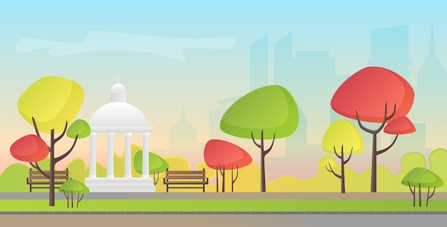 Vector illustration of a beautiful autumn city park with town building. evening in the park.