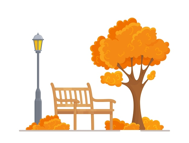 Vector illustration of a beautiful autumn city park with an urban background. evening in the park. bench, tree, lantern.