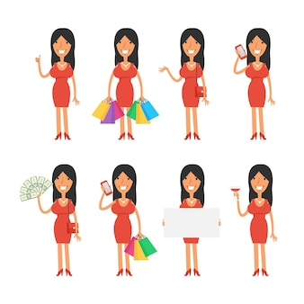 Vector illustration, beautiful girl in various poses, format eps 10
