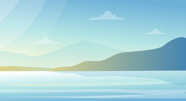 ベクトルイラスト湖とパステルカラーの山々の美しい風景。自然の背景、フラットスタイルの海の景色。