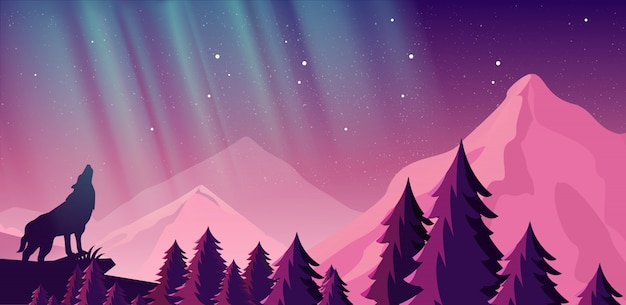 Vector illustration of beautiful northern lights in night sky over the mountains. view of the forest, wolf in the mountains.