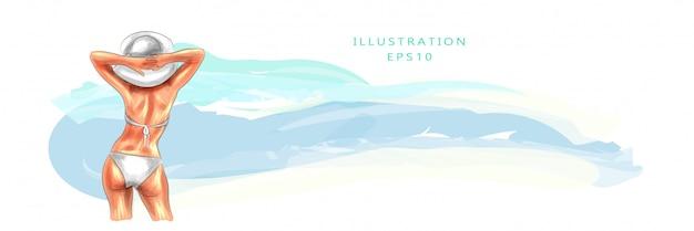 Векторная иллюстрация красивая загорелая молодая женщина на пляже, смотрит в сторону моря и принимает солнечные ванны. каникулы и отпуск концепции на побережье. летнее солнце. берег и море.