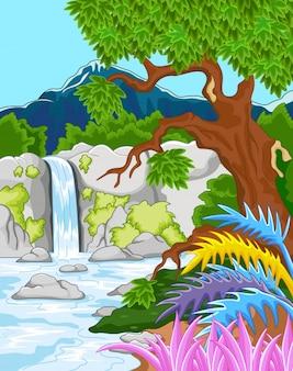 Vector illustration of beautiful waterfall