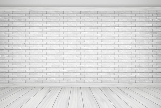 ベクトルイラスト美しい白いブロックレンガの壁と木製の床のヴィンテージの配置テクスチャパターンの背景。