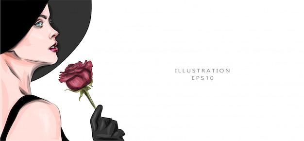 ベクトルイラスト。赤いバラと美しい女性。レトロなファッショナブルなイメージ。