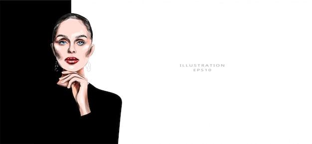 ベクトルイラスト。黒い服を着た美しい若い女性。明るいメイク。おしゃれなイラスト。