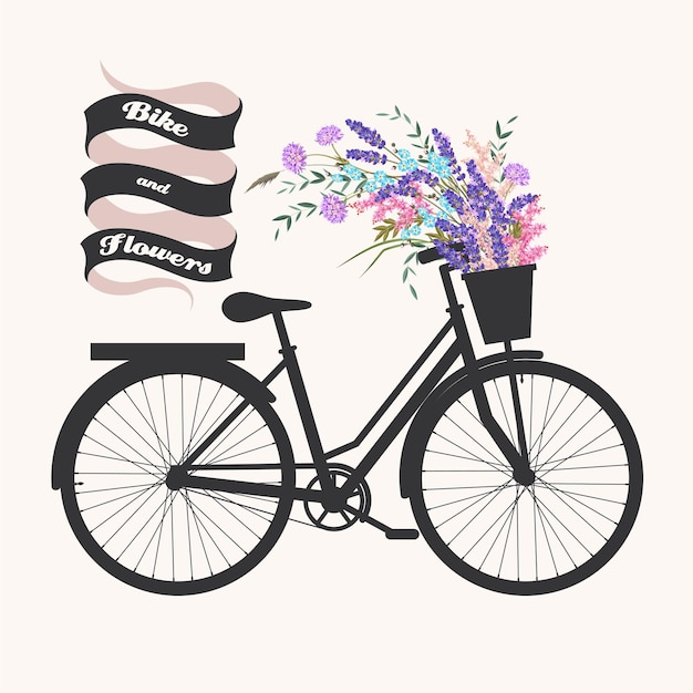 Vector illustration of bicycle and flower