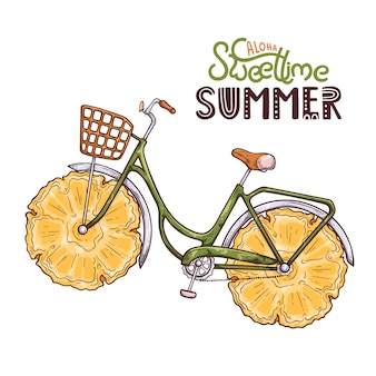 Vector illustration of bicycle with pineapple instead of wheels. lettering: aloha sweet time summer.