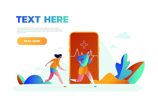 Vector illustration of big smartphone with fitness activity tracking application for exercising, running and tiny people doing sports