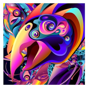 Vector illustration bird and dragon for background