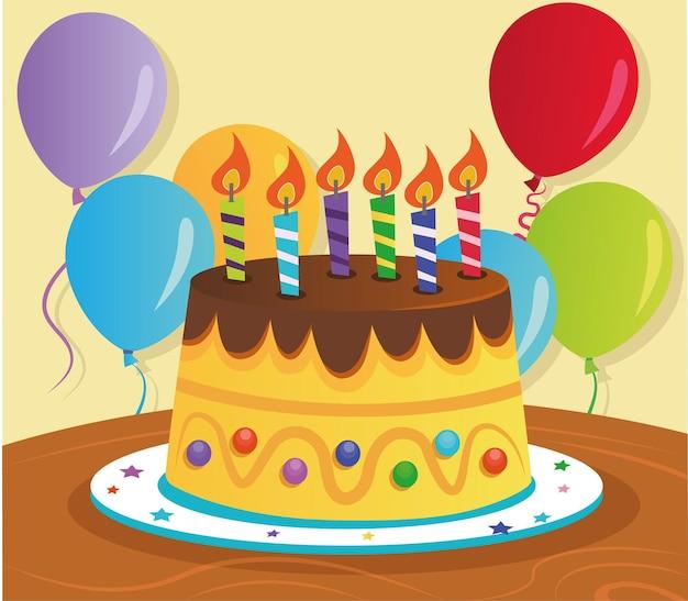 Vector illustration of a birthday cake