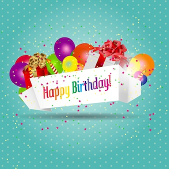 Vector illustration of birthday card with cake and balloons Premium Vector