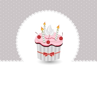 Vector illustration of birthday card with cake Premium Vector