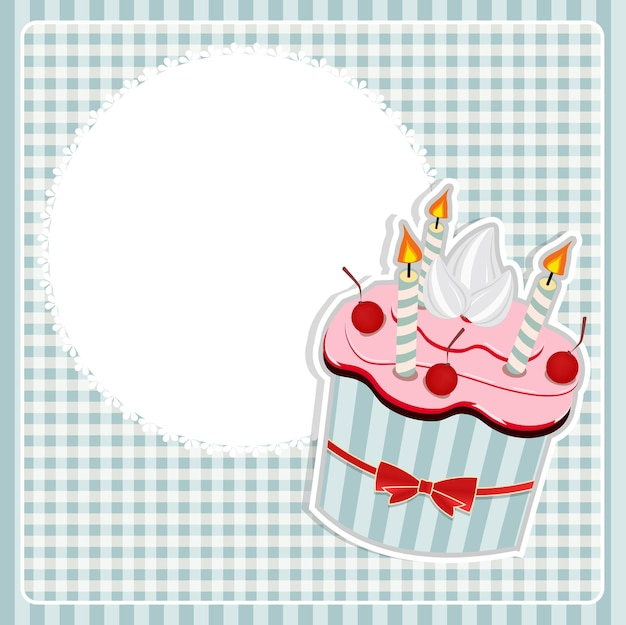 Vector illustration of birthday card with cake