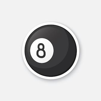 Vector illustration black billiard ball black billiard ball sports equipment cartoon sticker