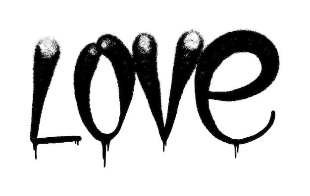 ベクトルイラスト黒の落書きタグ愛のレタリングエアロゾルはペイントをスプレーすることができます