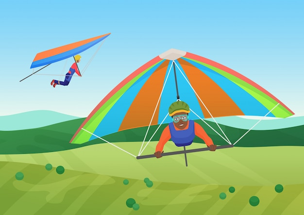 Vector illustration of black and white people flying on deltaplanes in sky under the field.