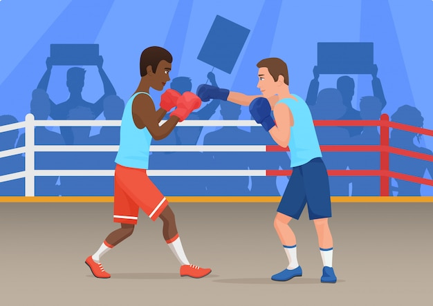 Vector illustration of black and white sportsmen boxing in ring.