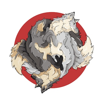 Vector illustration of a black and write wolf
