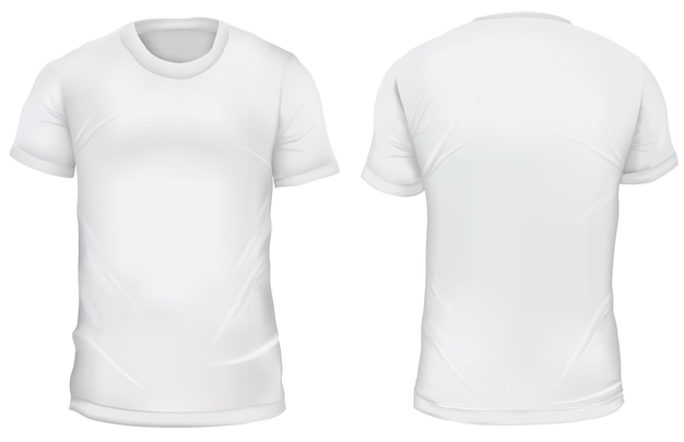 Vector illustration. blank t-shirt front and back views. isolated on white