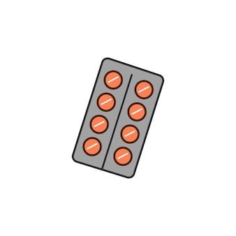 벡터 일러스트 레이 션 흰색 배경에 고립 된 알 약의 물집입니다. 의료 약물.