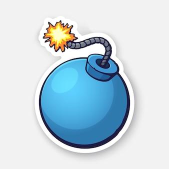 벡터 일러스트 레이 션 불타는 퓨즈 로프와 함께 파란색 공 모양의 폭탄 컨투어가있는 스티커