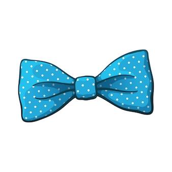 Векторная иллюстрация синий галстук-бабочка с принтом в горошек винтажный галстук-бабочка аксессуары для мужской одежды