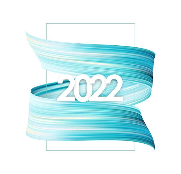 Vector illustration: blue brush stroke oil or acrylic paint with new year 2022. poster trendy design