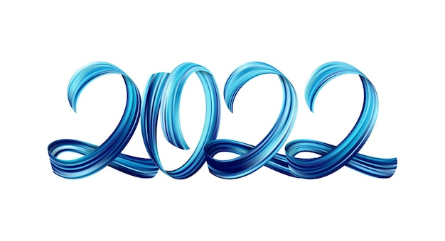 Vector illustration: blue brushstroke acrylic paint lettering calligraphy of 2022 on white background. happy new year