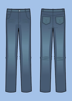 Vector illustration of blue man jeans. front and back views. classic denim