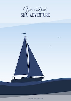 Vector illustration: blue marine with silhouette of yacht.
