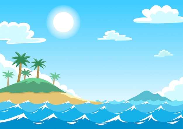 Vector illustration of blue sea with islands and coconut trees