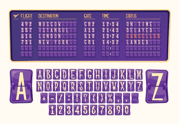 Vector illustration board of arrival and departure at the airport with various numbers and letters in cartoon style.
