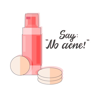 Vector illustration of a bottle with lotion and text. no acne. isolated background.