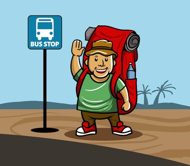 Vector illustration of boy go backpacking.