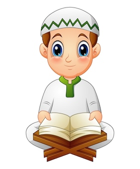 Vector illustration of boy read quran the holy book of islam