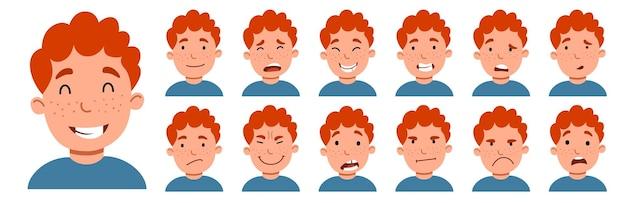 Vector illustration of boy. a set of cartoon-style emoticon stickers.