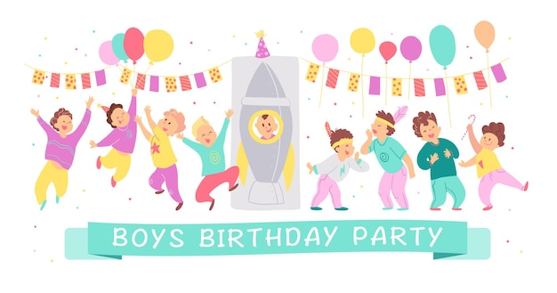 Vector illustration of boys birthday party happy characters celebrating with bd garland, balloons, rocket isolated on white background. flat cartoon style. good for invitation, tags, posters etc.