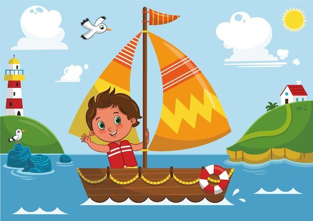Vector illustration of a boys sailing adventure