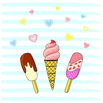 Vector illustration, bright flat ice cream with hearts on a striped background.