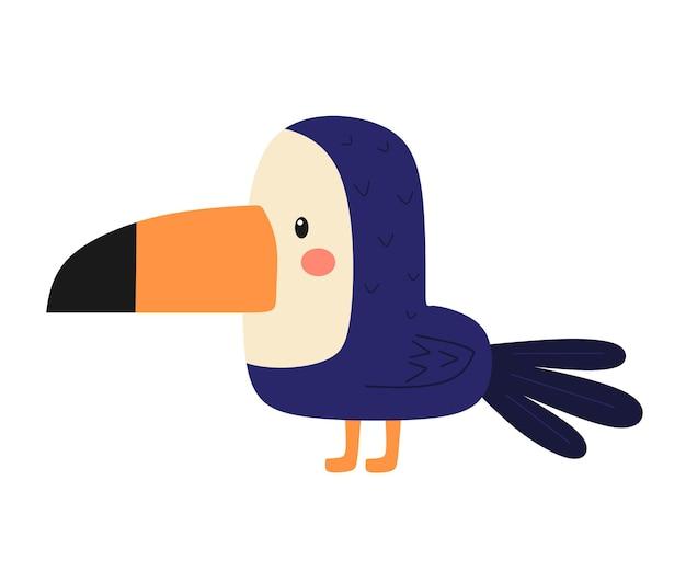 Vector illustration of a bright tropical bird toucan.