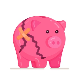 Vector illustration of broken piggy bank on white background. broken piggy bank money savers. piggy, savings money, icon.