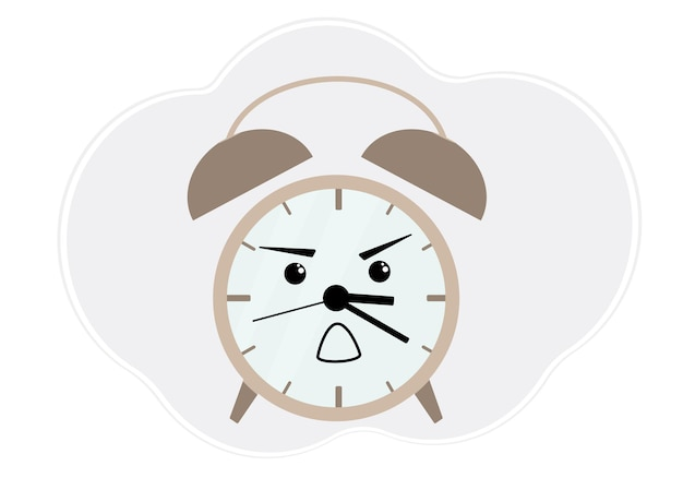 Vector illustration of brown alarm clock with emotion of anger and shock