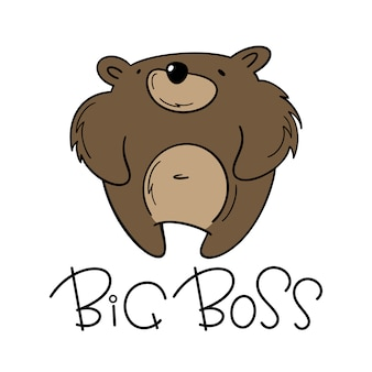 Vector illustration of a brown bear. big boss.