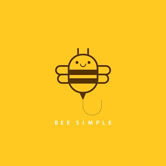 Vector illustration of brown bee in linear geometric style. bee simple for card design, t-shirt or textile print. inspiring creative motivation quote card.