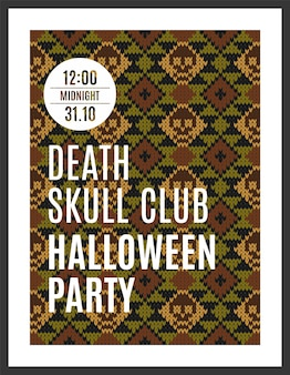 Vector illustration of brown skull on a dark green background for design flyers invitations coupons