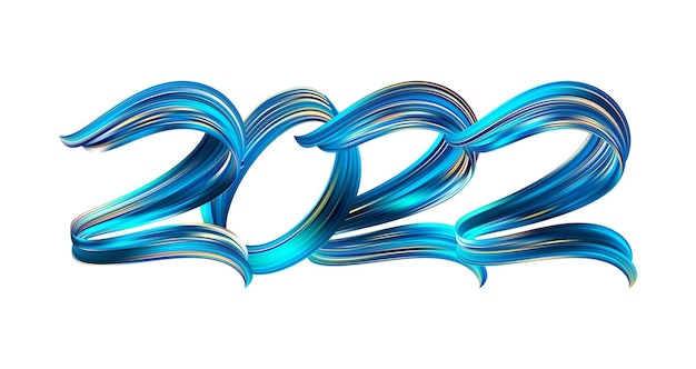 Vector illustration: brush stroke blue colored paint shape of number 2022. happy new year.