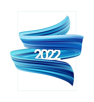 Vector illustration: brush stroke oil or acrylic paint with new year 2022. poster trendy design