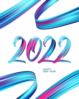 Vector illustration: brushstroke paint lettering calligraphy of 2022 happy new year on white background.