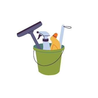 Vector illustration bucket with cleaning supplies, bottles, spray, brush. cleaning sevice.
